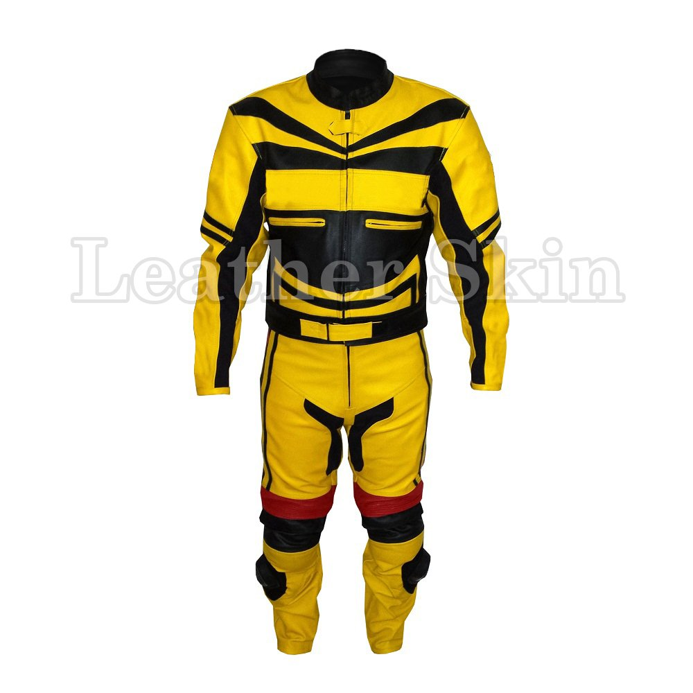 Yellow Motorcycle Biker Racing Genuine Leather Jacket