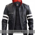 Men Dragon Embroidery Genuine Leather Jacket Costume