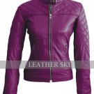 Women Purple Shoulder Quilted Genuine Leather Jacket