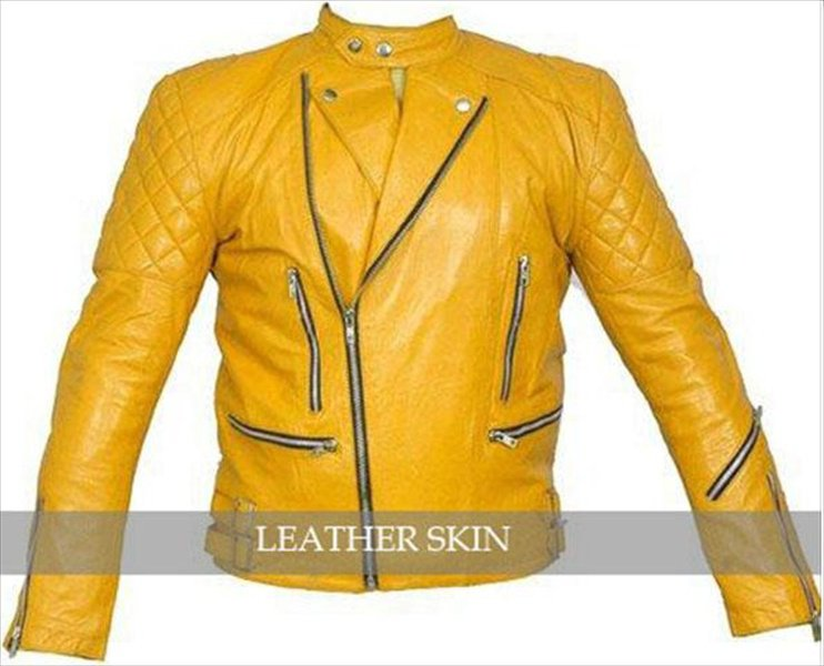 Quilted Yellow Biker Men Womens Unisex Leather Jacket
