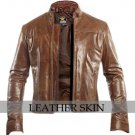 Unisex Dark Brown Genuine Leather Jacket
