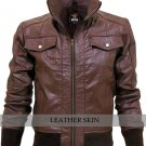 Brown Men Boys Justin Beiber Fashion Leather Jacket