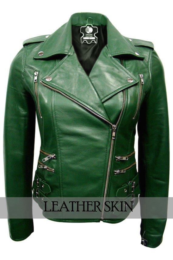 Green Brando Women Ladies Genuine Leather Jacket