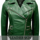 Green Brando Women Ladies Genuine Leather Jacket