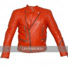Red Hot Brando Shoulder Quilted Biker Leather Jacket