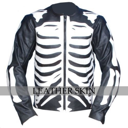 Black Skeleton Motorcycle Biker Racing Leather Jacket