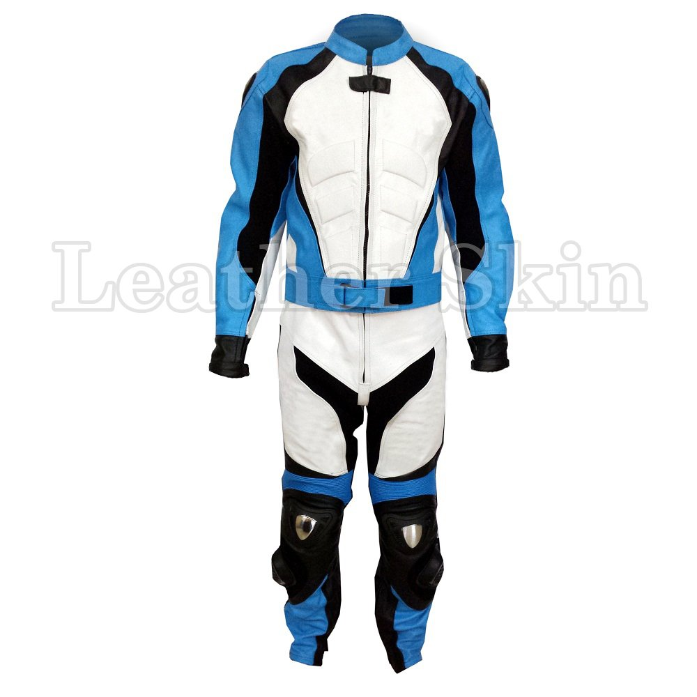 White Blue Stripes Motorcycle Biker Leather Jacket