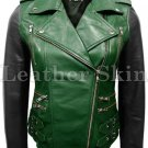 Women Green with Black Sleeves Genuine Leather Jacket