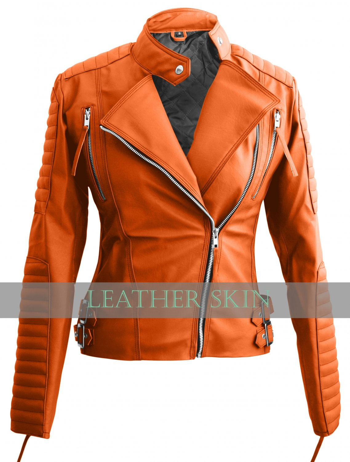 Orange Brando Women Ladies Faux Leather Jacket