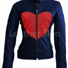 Women Love Blue Red Heart Quilted Leather Jacket