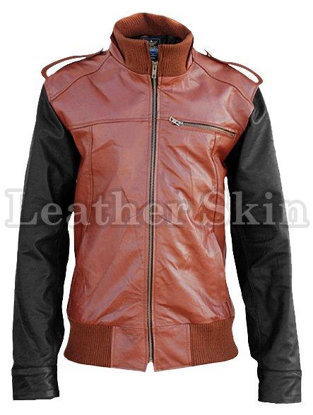 Mens Brown with Black Sleeves Genuine Leather Jacket