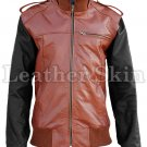 Mens Brown with Black Sleeves Genuine Leather Jacket