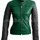 Women Green Black Sleeves Quilted Leather Jacket