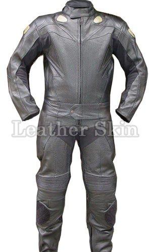Black Motorcycle Biker Racing Genuine Leather Suit