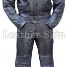 Black Motorcycle Biker Racing Genuine Leather Suit