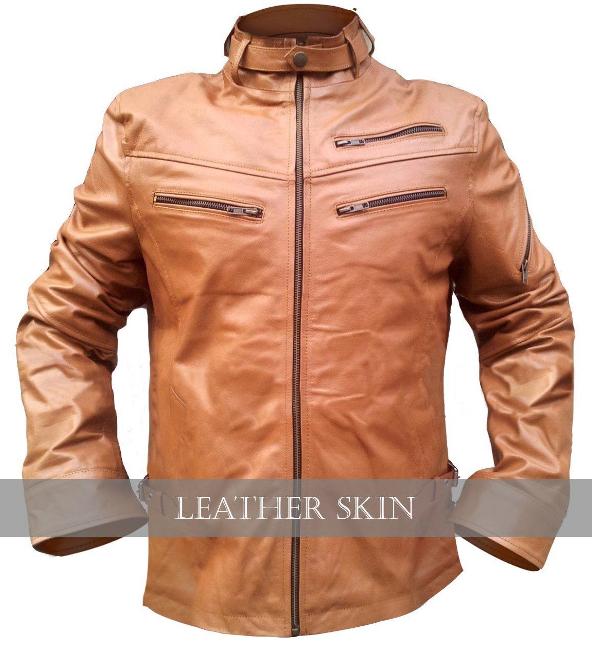 Light Brown Men Front Up Collar Leather Jacket