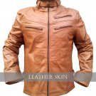 Light Brown Men Front Up Collar Leather Jacket