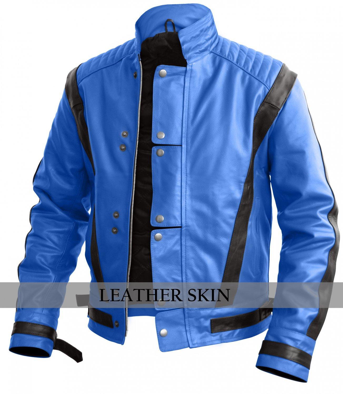 Men Blue Thriller Genuine Leather Jacket