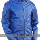 Blue Unisex Leather Jacket with Quilted Lining