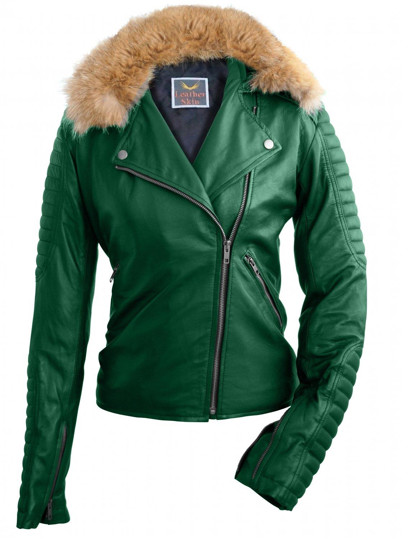 Women Green Fox Biker Genuine Leather Jacket