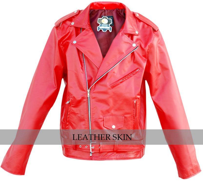 Men Punk Red Brando Belted Leather Jacket