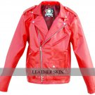 Men Punk Red Brando Belted Leather Jacket