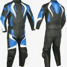 Fire Style Blue Biker Motorcycle Leather Jacket