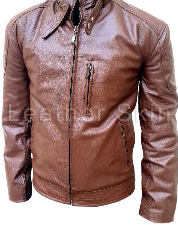 Men Brown Biker Motorcycle Leather Jacket