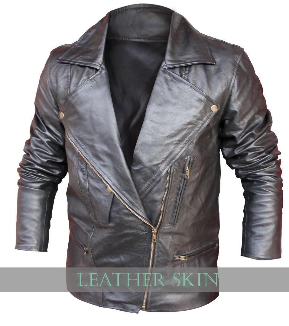 Black Brando Style Men Leather Jacket