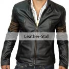 Men Black Genuine Leather Jacket with Distressed Brown Sleeve Rings