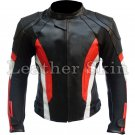 Black Red Stripes Biker Racing Leather Jacket