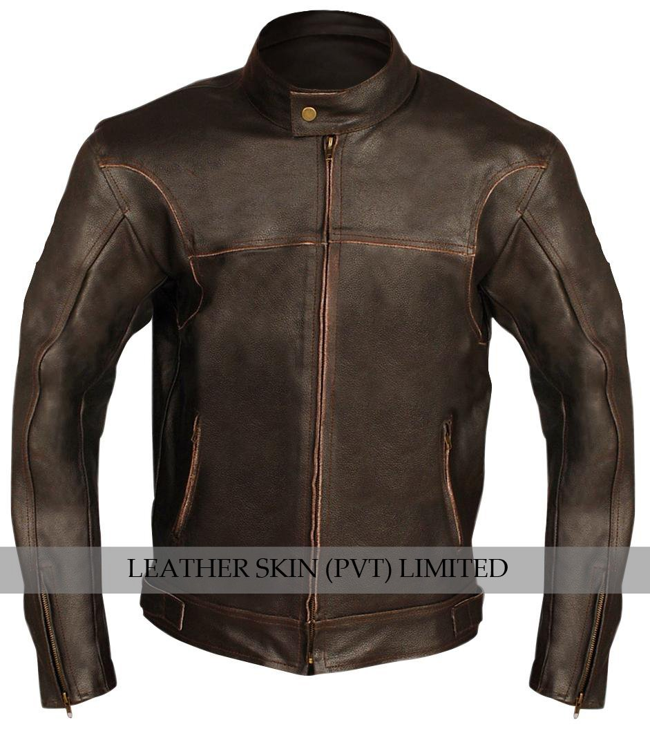 Brown Biker Motorcycle Genuine Leather Jacket