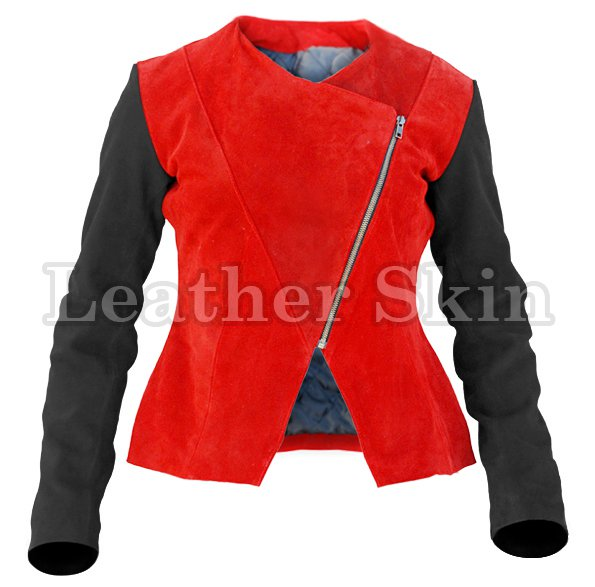 Women Red Black Sleeves Suede Leather Jacket