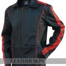Men Black with Red Stripes Genuine Leather Jacket