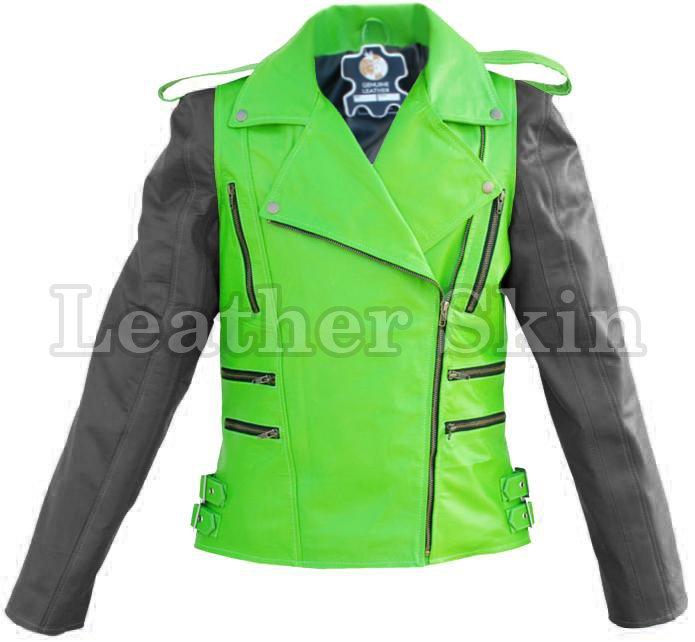 Men Punk Green Black Sleeves Leather Jacket