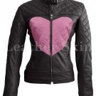 Women Black Love Pink Heart Leather Jacket