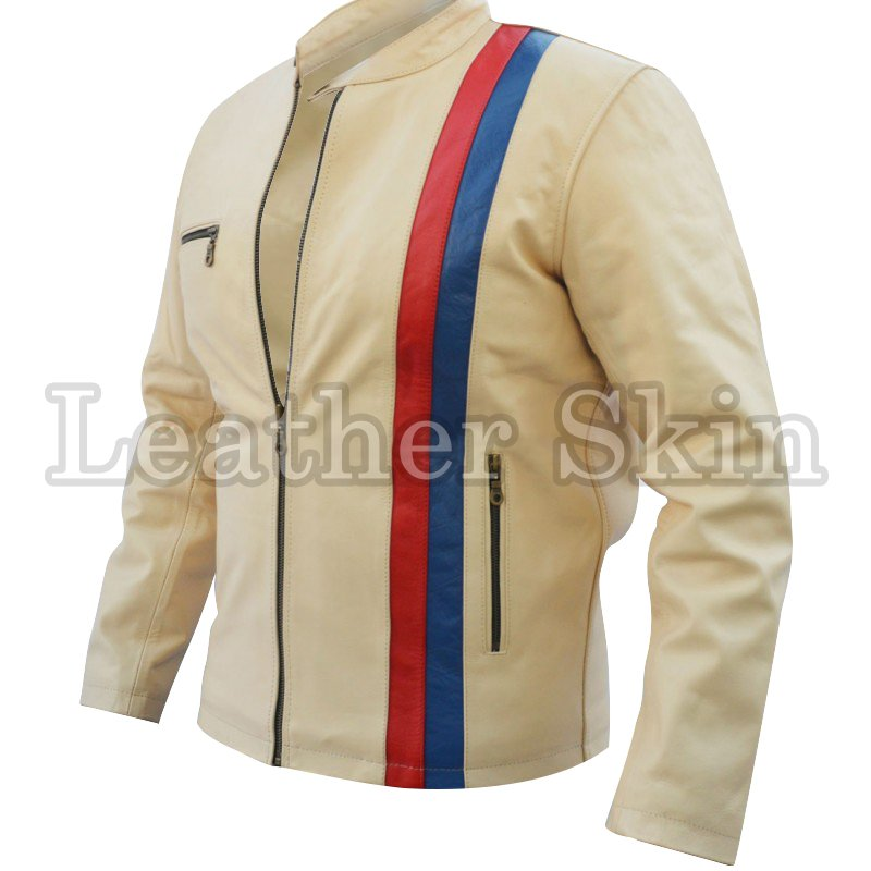 White Red Blue Strip Biker Leather Jacket
