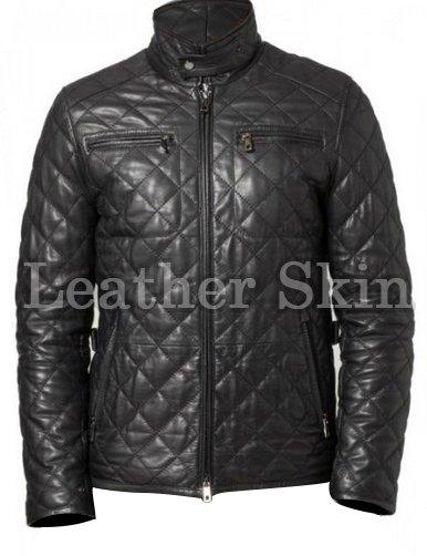 Men Black Diamond Quilted Leather Biker Jacket