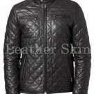 Men Black Diamond Quilted Leather Biker Jacket