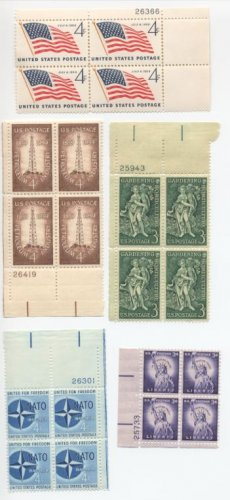 US Scott #1035,1100,1127,1132,1134 Plate blocks MNH