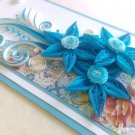 Handmade card/ quilling card/ birthday card/ wedding card/ blue card/ flowers/ 3d card