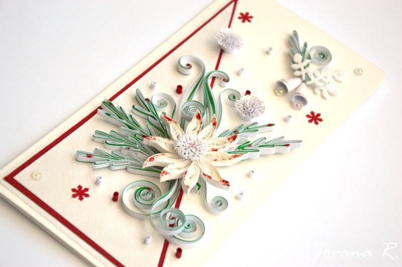 Merry Christmas card/ Quilling Christmas card/ 3D Christmas/ Quiling card/Elegant