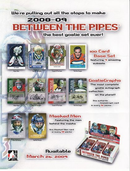 2008-09 ITG Between the Pipes. Complete Base Set. 100 cards.