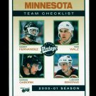 2001-02 UD Hockey Vintage  Team Checklist  #130  Minnesota Wild
