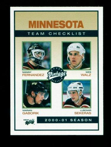 2001-02 UD Hockey Vintage  Team Checklist  #130  Minnesota Wild