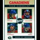 2001-02 UD Hockey Vintage  Team Checklist  #139  Montreal Canadiens
