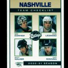 2001-02 UD Hockey Vintage  Team Checklist  #148  Nashville Predators