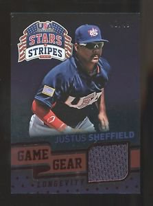 2015 Panini USA Baseball Stars Stripes Longevity Game Gear #52  Justus Sheffield
