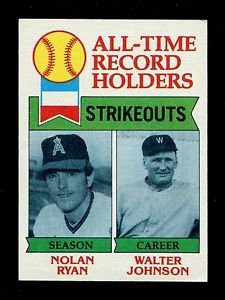 1979 Topps Baseball  #417  All-Time Strikeouts  Nolan Ryan  Walter Johnson