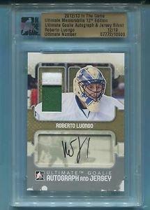2012-13 ITG Ultimate Memo UM12 Goalie Autograph & Jersey  Roberto Luongo  12/19